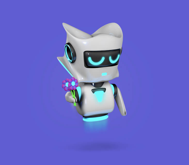 Apologetic robot holding flowers